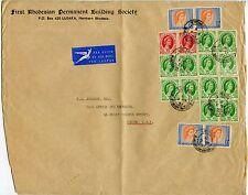 RHODESIA + NYASALAND LARGE PRINTED ENVELOPE AIRMAIL to GB 18 stamp MULTIFRANKING