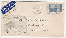 1939 TCA Trans Canada Airlines 1st Air Mail Flight Letter Toronto -  Winnipeg