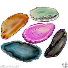 FIVE Agate Slices Geode Polished Slab Crystal Quartz Brazil Randomly Selected