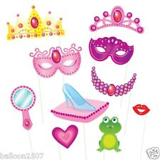 10 Pink Princess Photo Booth Props on Sticks Birthday Party Selfie Tiara