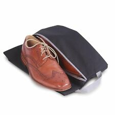 Zippered Gusseted Shoe Travel Bag in Black /Grey Trim