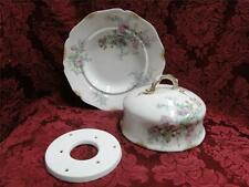 Wm Guerin Pink Roses w/ Blue & Green, Gold Trim: Round 3 Piece Butter Dish