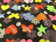 "Black ""Hearts,Flowers,Stars,Butterfly"" Printed 100% Cotton Poplin Fabric."