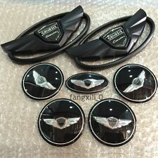 7pcs Hyundai Genesis Coupe WING Logo Emblems Wheel Caps Hubs Steering Stickers
