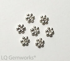"6"" Strand .925 STERLING SILVER 4mm Bright Daisy Spacer Beads"