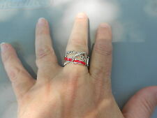Paparazzi StretchBand Ring (new) THE COLOR GUARD (RED/SILVER)