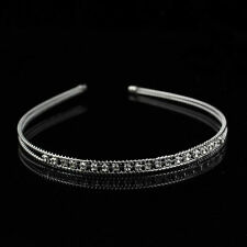 Metal Crystal Headband Head Piece Hair Band Jewelry for Women Silver