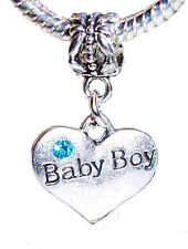 Baby Boy Heart Son New Mom Blue Rhinestone Dangle Bead fits Euro Charm Bracelets