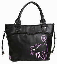 Banned 9 VITE Black Cat Kitty BROKEN MIRROR Handbag SCHOOL Shoulder Bag Nero