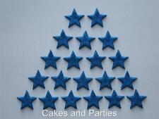 20 X EDIBLE BLUE GLITTER STARS. CAKE DECORATIONS - SMALL 2cm