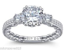 3 Carat Brilliant Cut Cubic Zirconia Solitaire Ring With Pave Setting Size 7