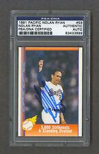 Nolan Ryan signed Rangers 1991 Pacific baseball card Psa/Dna