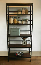 Industrial style shelving unit with retaining bar