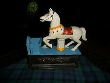 Antique Reproduction TRICK PONY Cast Iron COIN BANK Very Good !