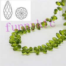 20pcs 6x12mm Olive green Teardrop Glass Faceted Loose Crystal Pendant Beads