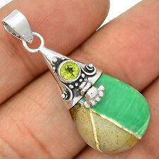 Variscite & Peridot 925 Sterling Silver Pendant Jewelry SP221676