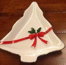 MOUNT CLEMENS POTTERY WHITE CHRISTMAS TREE, RED BOW AND HOLLY CANDY DISH PLATE