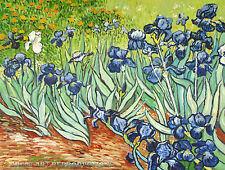 """Irises"", van Gogh Impressionist Reproduction in Oil, 37""x28"""