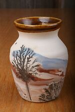 Vintage Vase Sevierville Tennessee Earth Colors Brown Cream Blue Trees