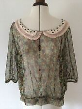 NEXT Sheer Ditsy Floral Olive Green Crochet Lace Collar Blouse Top  L Size 14-16