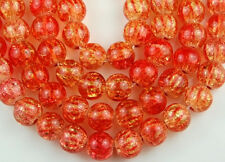 Orange Peridot Striped Crackle Pressed Glass Loose Beads Jewelry Craft Spacer