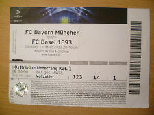 UEFA Champions League TICKET 2012- BAYERN MUNCHEN v BASEL