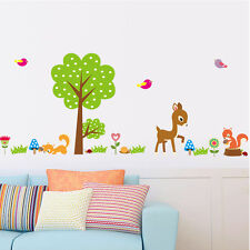 Deer Squirrel  Forest Animals Wall Stickers For Kids Baby Nursery Decor Decal