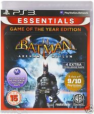 Batman Arkham Asylum Game of the Year Essenziali gioco per Sony PS3 NUOVO