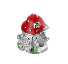 New Red Mushroom House Silver Charm Bead For 925 Necklace Bracelet Chain US