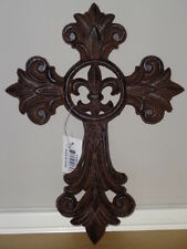 "10.5""x7.5"" Western Fleur De Lis Cast Iron Metal Rustic Wall Hanging Cross Decor"