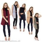 Ladies Women's Sleeveless Zip Pocket Long Waistcoat Blazer Jacket Coat Top 8-14