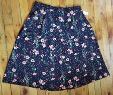 NWT Rikki J New York 3X pink red green black floral a line skirt long modest USA