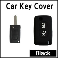 CAR KEY COVER SILICONE CASE HOLDER PEUGEOT 207 307 308 407 REMOTE FLIP KEY BLACK