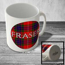 MUG_CLAN_591 FRASER surname (Fraser Modern Tartan) (circle background) - Scottis