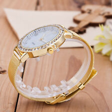 NEW Exquisite Gold Band White Dial diamond Hour Men Women Watch Gift F5065 MB