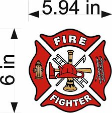 "FIRE FIGHTER 6"" Vinyl Decal Fire Dept maltese cross firefighter sticker"