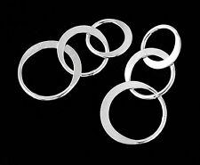 925 Sterling Silver 4 Three Linked Circle Rings Charms, Connectors 22x12 mm.