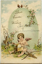 Antique EASTER FANTASY POSTCARD Cherub CROSSBOW Arrow 1906 PFB GERMANY Embossed