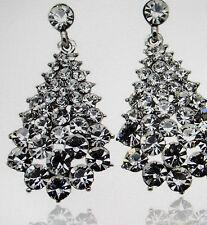 exklusive Ohrringe Ohrstecker Waterdrops weiß brillant funkelnd Strass Silber