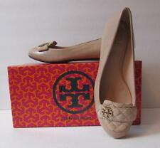 Tory Burch Leila Loafer beige tan quilted suede leather 8 flat gold logo ballet