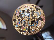 3679-D – Large Emaux Peints Pierced Enamel Fleur Art Nouveau Antique Button