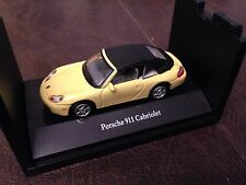 HTF CARARAMA PORSCHE 911 CABRIOLET TOP UP 1:72 ON STACKABLE DISPLAY BASE YELLOW