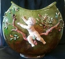 RARE HAVILAND LIMOGES POTTERY TERRA COTTA FAIENCE 12in POT CHERUB BY P. AUBE