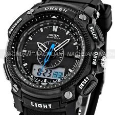 Waterproof OHSEN Mens Digital LCD Sport Black Rubber Date Day Quartz Wrist Watch