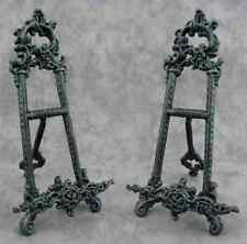 PAIR OF CAST IRON EASELS for PHOTOS/ART Verdigris Green VICTORIAN SCROLL DESIGN