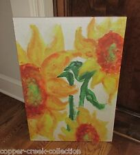 Large Canvas SUNFLOWER Picture Wall Art Sign*Primitive/Fall French Country Decor