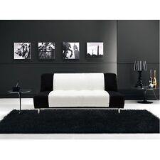 Divano letto sofà 175x77 3 posti bicolore bianco nero antiribaltamento salotto|T