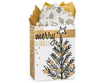 50 Golden Holiday Merry Christmas Trees Kraft Paper Cub size Gift Shopping Bags
