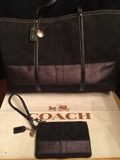 Coach XL Black Silver Lurex Stripe Signature Tote Bag 11099+Wristlet Wallet EUC