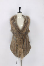 New Real Knit Rabbit Fur With Raccoon Fur Turn-down Collar Vest Long Slim Waistc